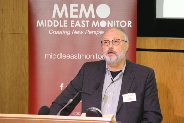 FILE PHOTO: Saudi dissident Jamal Khashoggi speaks at an event hosted by Middle East Monitor in London Britain, September 29, 2018. Picture taken September 29, 2018. Middle East Monitor/Handout via REUTERS