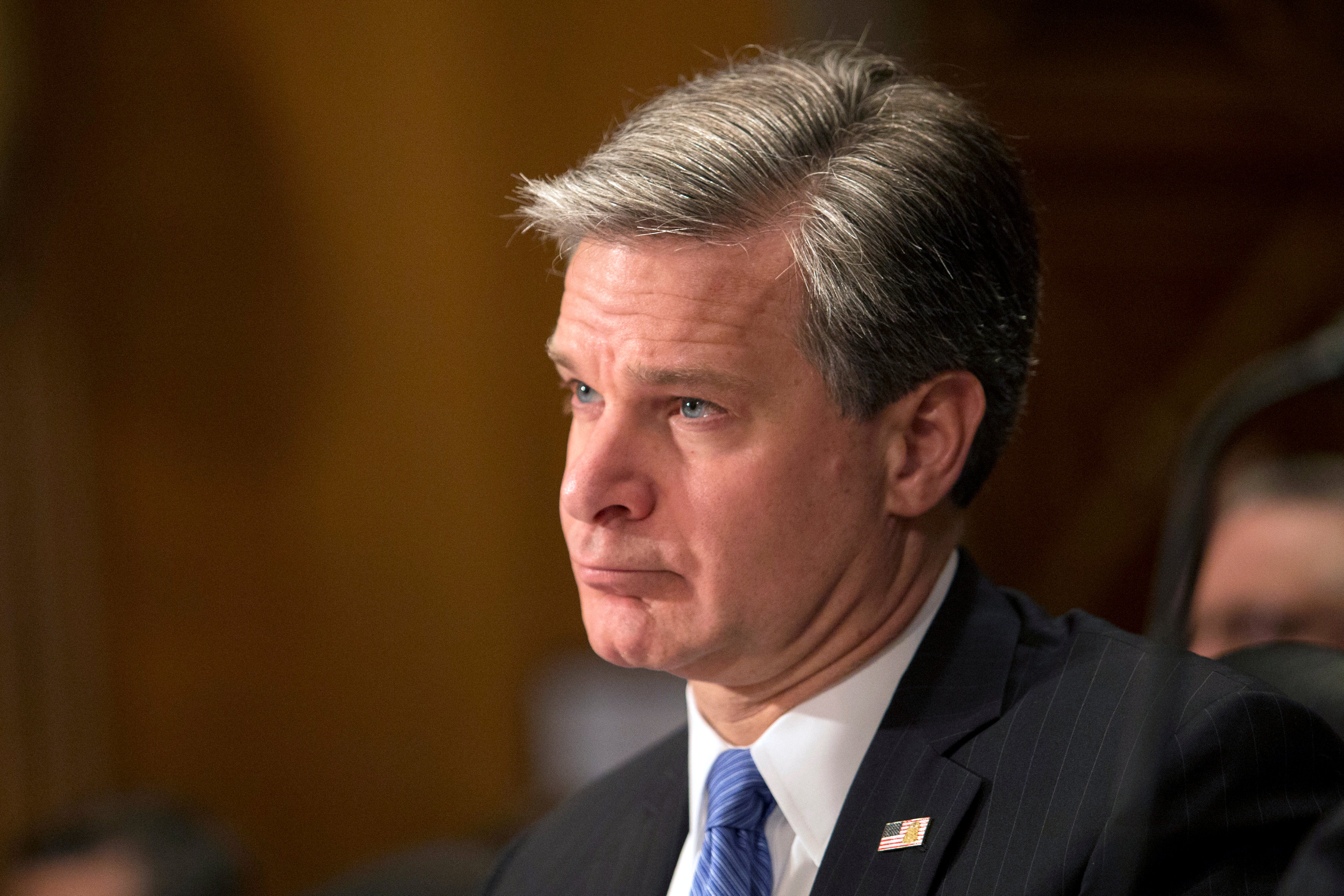 "FBI Director Christopher Wray, testifies before a Senate Homeland Security and Government Affairs Committee hearing on ""Threats to the Homeland"" at the Dirksen Senate Office Building in Washington, U.S., October 10, 2018. REUTERS/Alex Wroblewski"