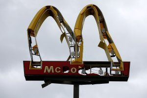 A McDonald's sign damaged by Hurricane Michael is pictured in Panama City Beach, Florida, U.S. October 10, 2018. REUTERS/Jonathan Bachman