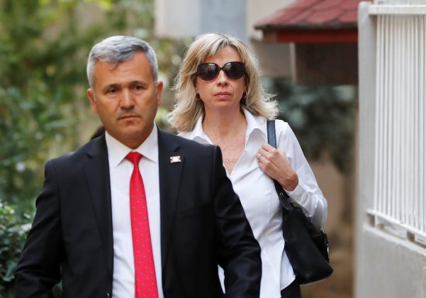 Norine Brunson, wife of U.S. pastor Andrew Brunson, departs for her husband's court hearing in Izmir, Turkey October 12, 2018. REUTERS/Osman Orsal
