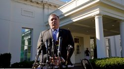 U.S. Secretary of State Mike Pompeo speaks after his meeting with U.S. President Donald Trump at the White House in Washington, U.S., October 18, 2018. REUTERS/Kevin Lamarque