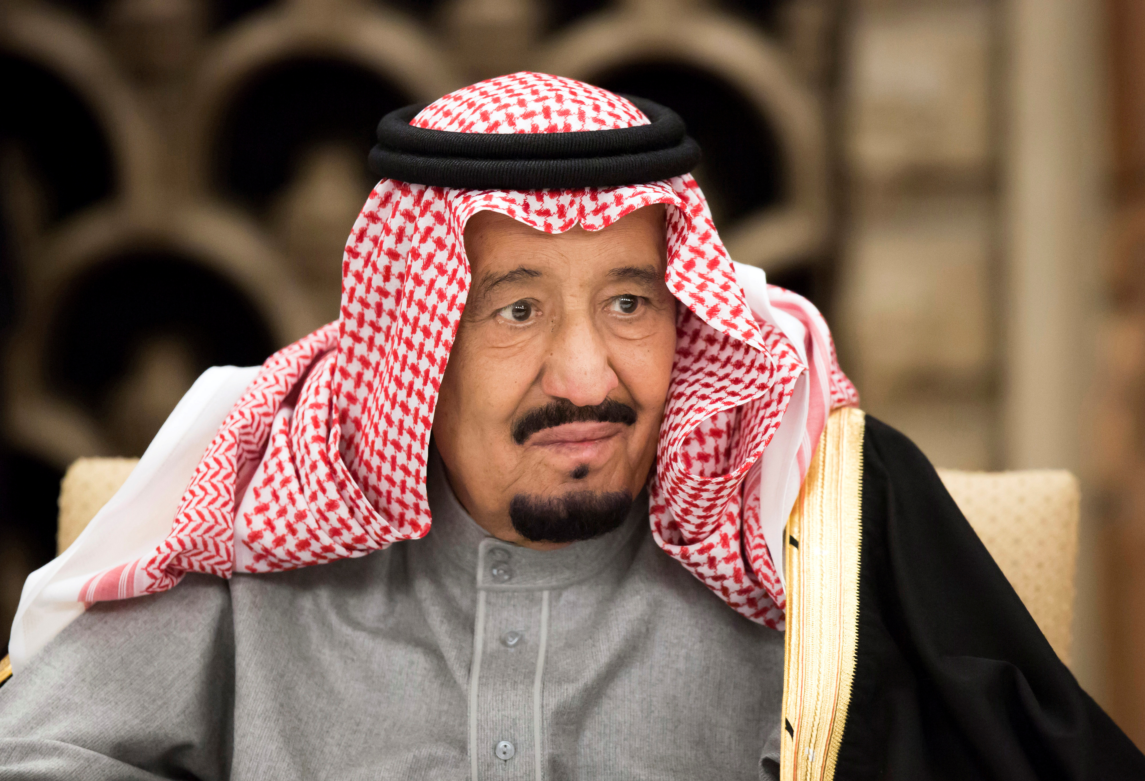 FILE PHOTO: Saudi Arabia's King Salman bin Abdulaziz Al Saud, attends a banquet hosted by Shinzo Abe, Japan's Prime Minister, at the prime minister's official residence in Tokyo, Japan, Monday, March 13, 2017. To match Insight SAUDI-POLITICS/KING REUTERS/Tomohiro Ohsumi/Pool/File Photo