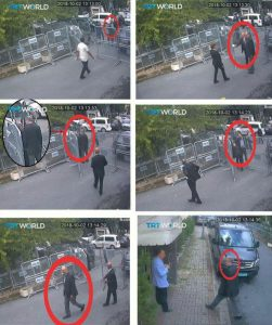 Still images taken from CCTV video and obtained by TRT World claim to show Saudi journalist Jamal Khashoggi, highlighted in a red circle by the source, as he arrives at Saudi Arabia's Consulate in Istanbul, Turkey October 2, 2018. Courtesy TRT World/Handout via Reuters