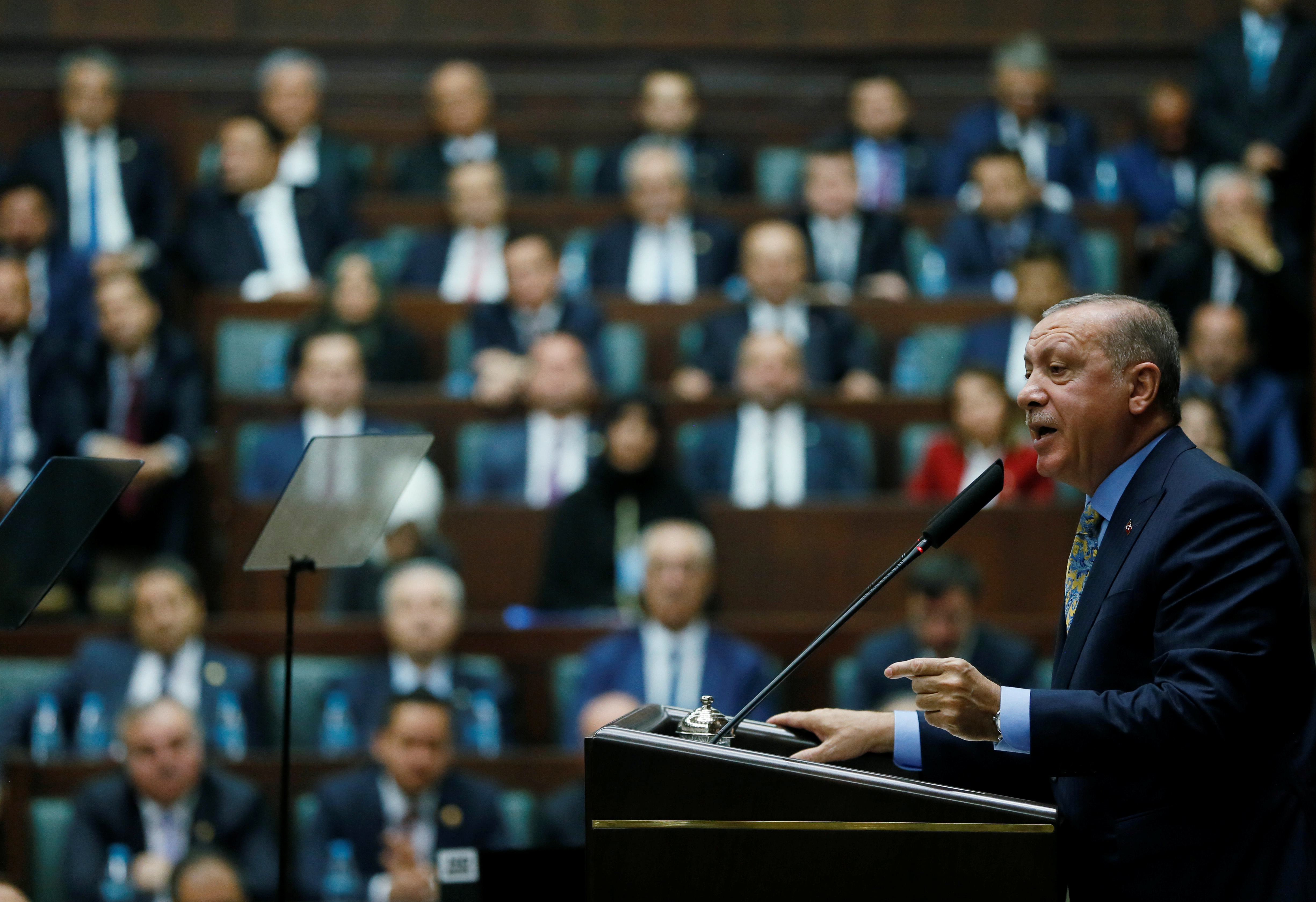 Turkish President Tayyip Erdogan addresses members of parliament from his ruling AK Party (AKP) during a meeting at the Turkish parliament in Ankara, Turkey October 23, 2018. Murat Cetinmuhurdar/Presidential Press Office/Handout via REUTERS