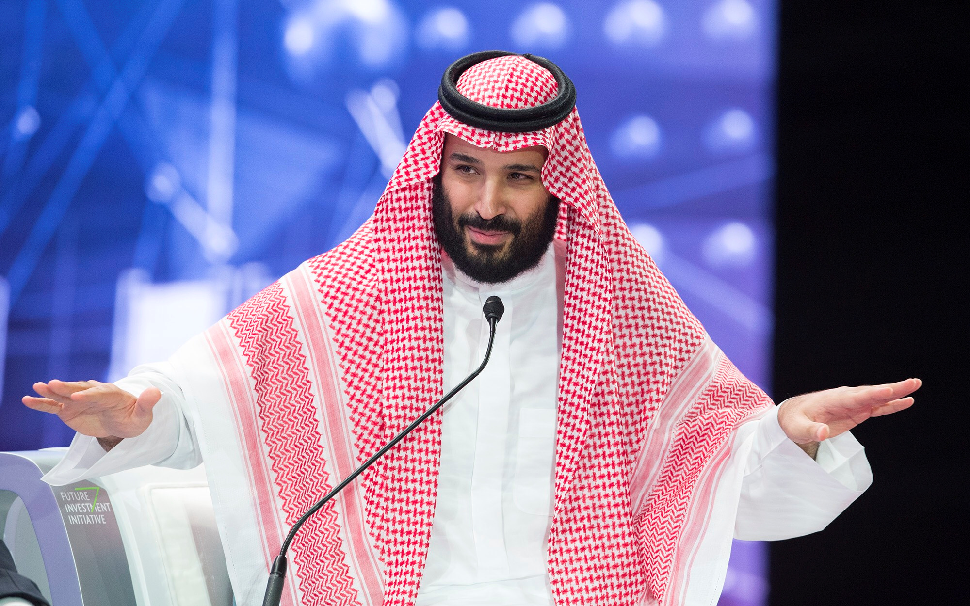 Saudi Crown Prince Mohammed bin Salman speaks during the Future Investment Initiative Forum in Riyadh, Saudi Arabia October 24, 2018. Bandar Algaloud/Courtesy of Saudi Royal Court/Handout via REUTERS