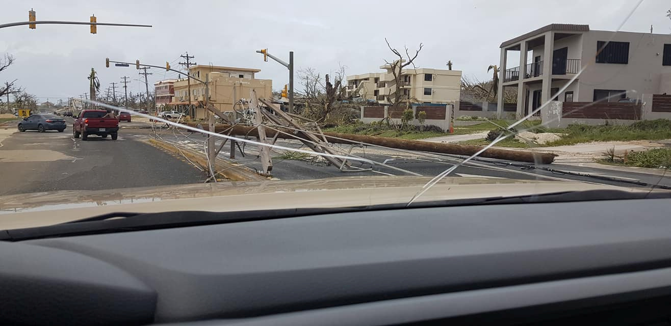 A general view of the damage after Super Typhoon Yutu hit Saipan, Northern Mariana Islands, U.S., October 25, 2018 in this picture taken through a cracked vehicle window, obtained from social media. Brad Ruszala via REUTERS