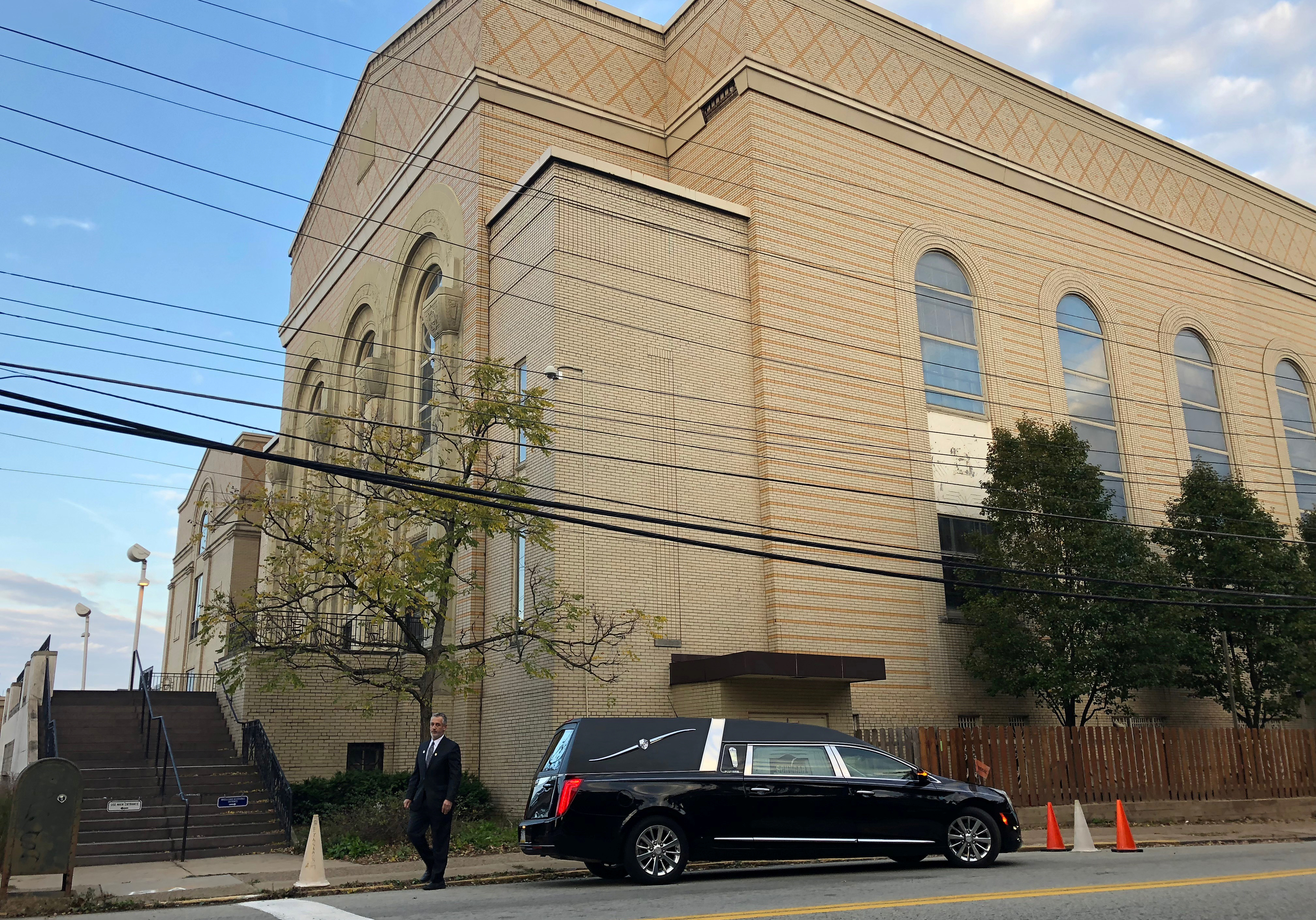 A hearse is parked outside the Berg Shalom Synagogue, where a funeral will be held for Joyce Feinberg, one of the victims in Saturday's synagogue shooting in Pittsburgh, Pennsylvania, U.S. October 31, 2018. REUTERS/Jessica Resnick-Ault