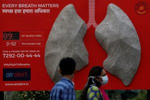 People pass by an installation of an artificial model of lungs to illustrate the effect of air pollution outside a hospital in New Delhi, India, November 5, 2018. Picture taken November 5, 2018. REUTERS/Anushree Fadnavis