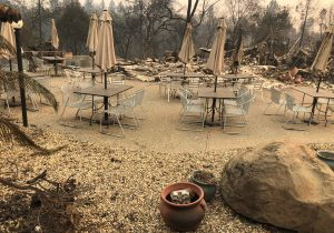Cafe tables and umbrellas stand idle as the remains of Mama Celeste's Gastropub and Pizzeria lies in ruins after wildfires devastated the area in Paradise, California, U.S., November 12, 2018. REUTERS/Sharon Bernstein