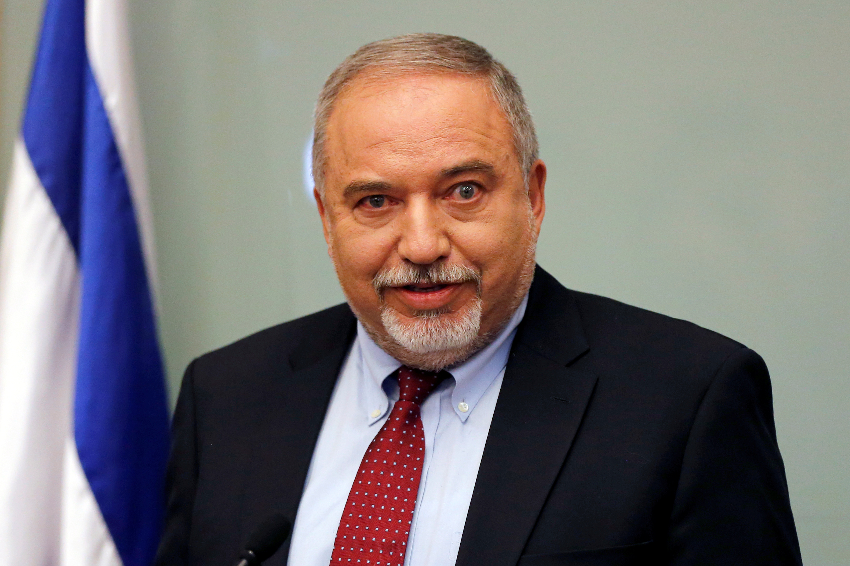 Israel's Defence Minister Avigdor Lieberman delivers a statement to the media following his party, Yisrael Beitenu, faction meting at the Knesset, Israel's parliament, in Jerusalem November 14, 2018. REUTERS/Ammar Awad