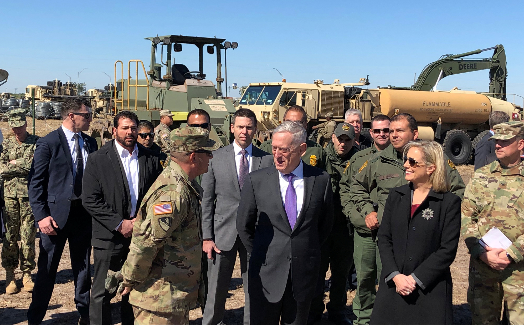 U.S. Defense Secretary Jim Mattis and U.S. Secretary of Homeland Security Kirstjen Nielsen tour Base Camp Donna in Donna, Texas, U.S., November 14, 2018. REUTERS/Phil Stewart