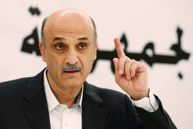 FILE PHOTO: Samir Geagea, leader of the Christian Lebanese Forces, speaks during an interview with Reuters at his home in the Christian village of Maarab in the mountains overlooking the seaside town of Jounieh, October 31, 2014. REUTERS/Mohamed Azakir/File Photo