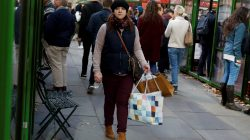 FILE PHOTO: A woman walks with shopping bags at Bryant Park in New York, U.S. December 2, 2016. REUTERS/Shannon Stapleton