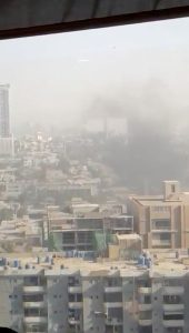 Smoke rises from the Chinese consulate after an attack by gunmen in Karachi, Pakistan, November 23, 2018 in this still image taken from a video obtained from social media. Saqib Zia/via REUTERS
