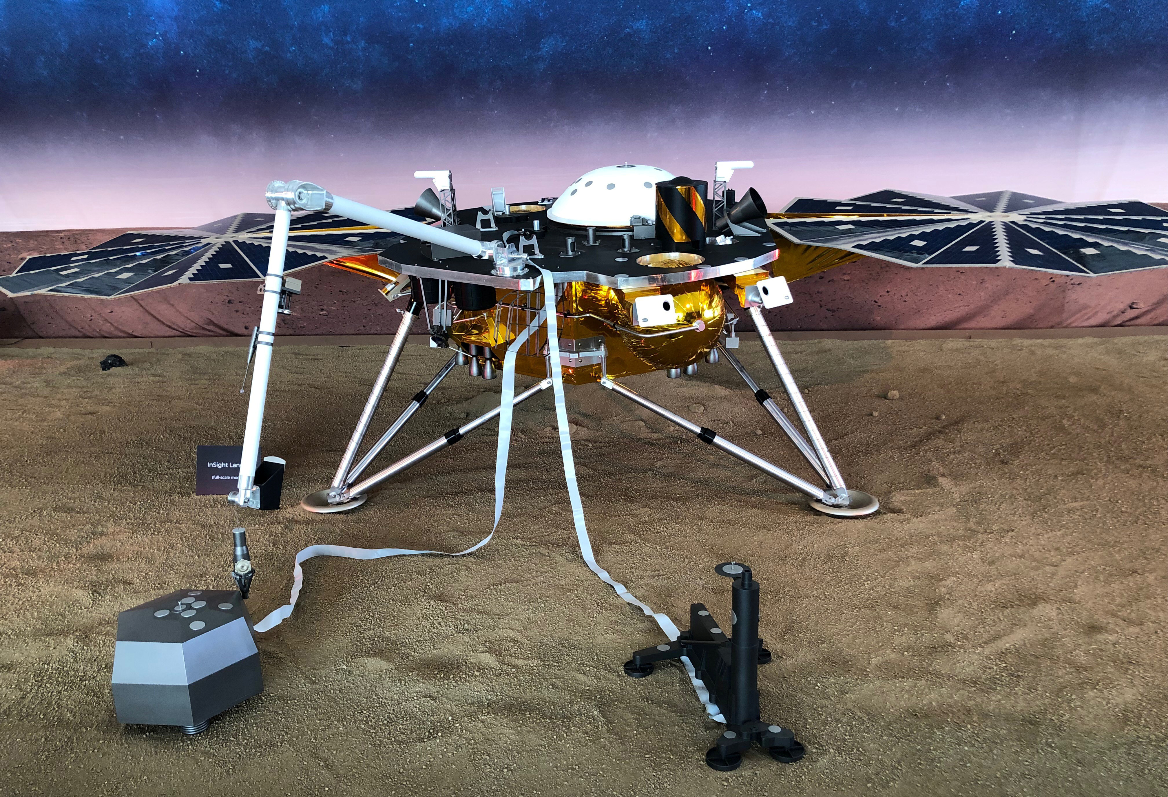 A full-scale replica of NASA's Mars InSight, a robotic stationary lander that marks the first spacecraft designed to study the deep interior of the Red Planet, or any distant world, is seen inside a large tent on the campus of NASA's Jet Propulsion Laboratory (JPL) in Pasadena, California, U.S., November 21, 2018. REUTERS/Steve Gorman