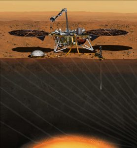 FILE PHOTO: The NASA Martian lander InSight dedicated to investigating the deep interior of Mars is seen in an undated artist's rendering. NASA on Wednesday said it would fix the InSight lander that was grounded in December due to a leak in its primary science instrument, putting the mission back on track for another launch attempt in 2018. REUTERS/NASA/JPL-Caltech/Handout via Reuters
