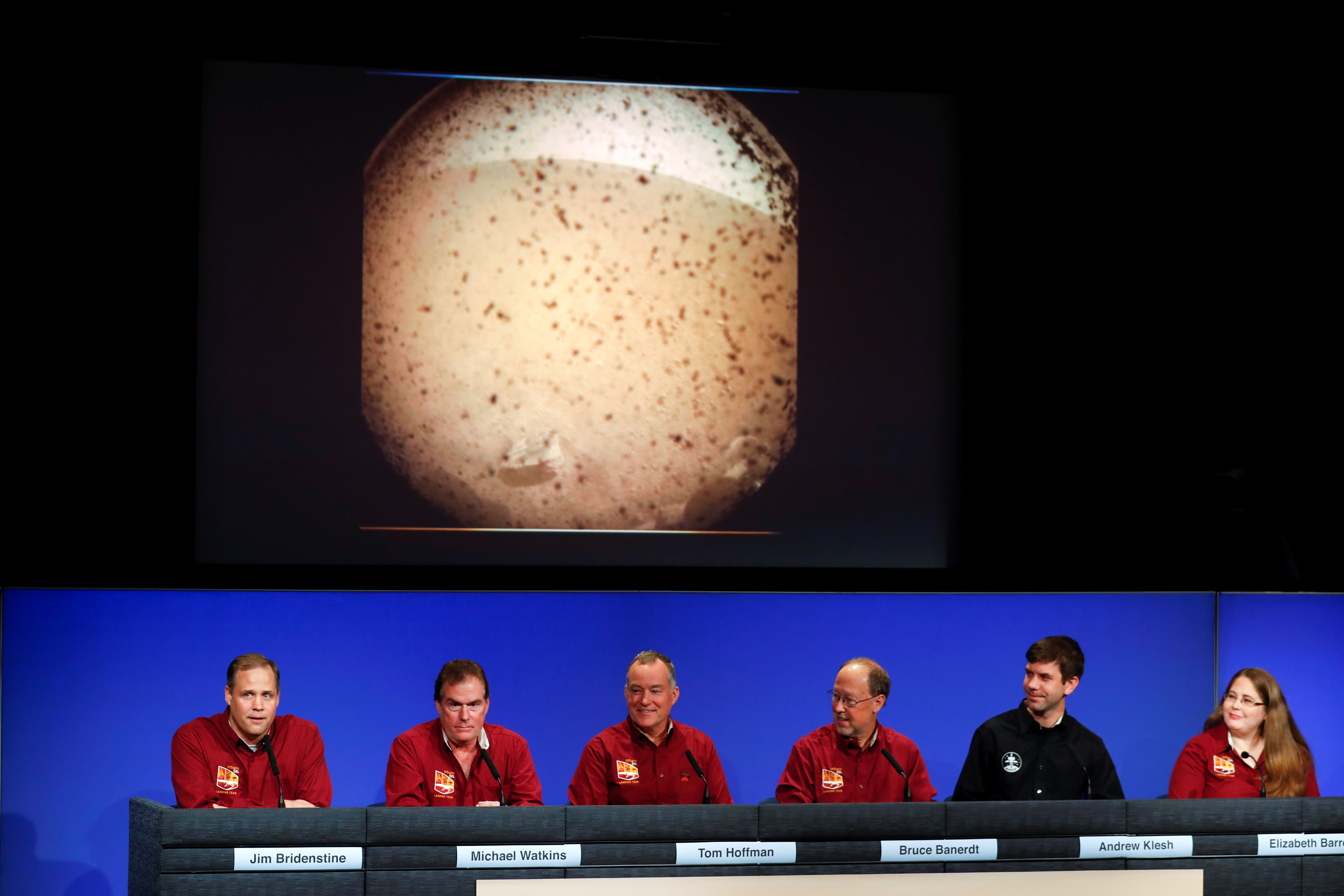 James Bridenstine (L), Administrator of the National Aeronautics and Space Administration (NASA), speaks along Michael Watkins, JPL Director, Project Manager Tom Hoffman and scientists Bruce Banerdt, Andrew Klesh and Elizabeth Barrett after the landing of spacecraft InSight on the surface of Mars, in Pasadena, California, U.S. November 26, 2018. REUTERS/Mike Blake