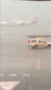 A Qantas plane takes off during heavy rains in Sydney, New South Wales, Australia November 28, 2018 in this still image taken from a video obtained from social media. Adem Yaglipnar/via REUTERS