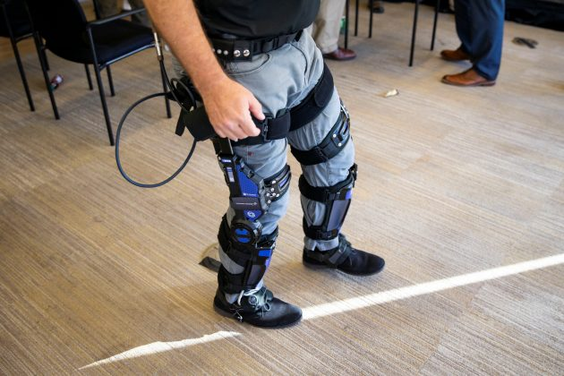Keith Maxwell, Senior Product Manager of Exoskeleton Technologies at Lockheed Martin, demonstrates an Exoskeleton during a Exoskeleton demonstration and discussion, in Washington, U.S., November 29, 2018. REUTERS/Al Drago