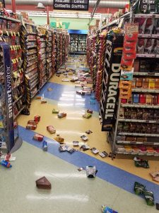 Earthquake damage is seen inside a store in Anchorage, Alaska, U.S. November 30, 2018 in this image obtained from social media. David Harper/via REUTERS