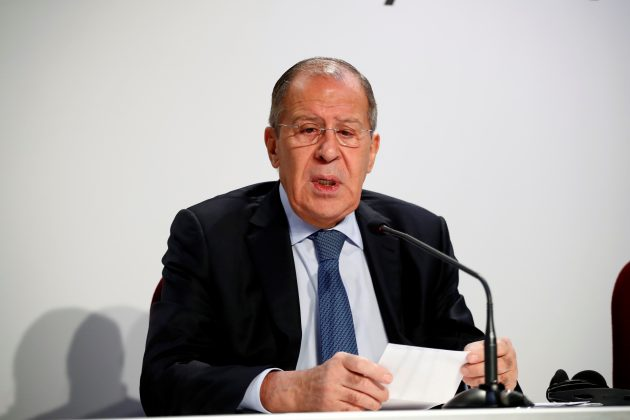 Russian Foreign Minister Sergei Lavrov arrives for a news conference on the sidelines of the Organization for Security and Co-operation in Europe (OSCE) summit in Milan, Italy, December 7, 2018. REUTERS/Alessandro Garofalo