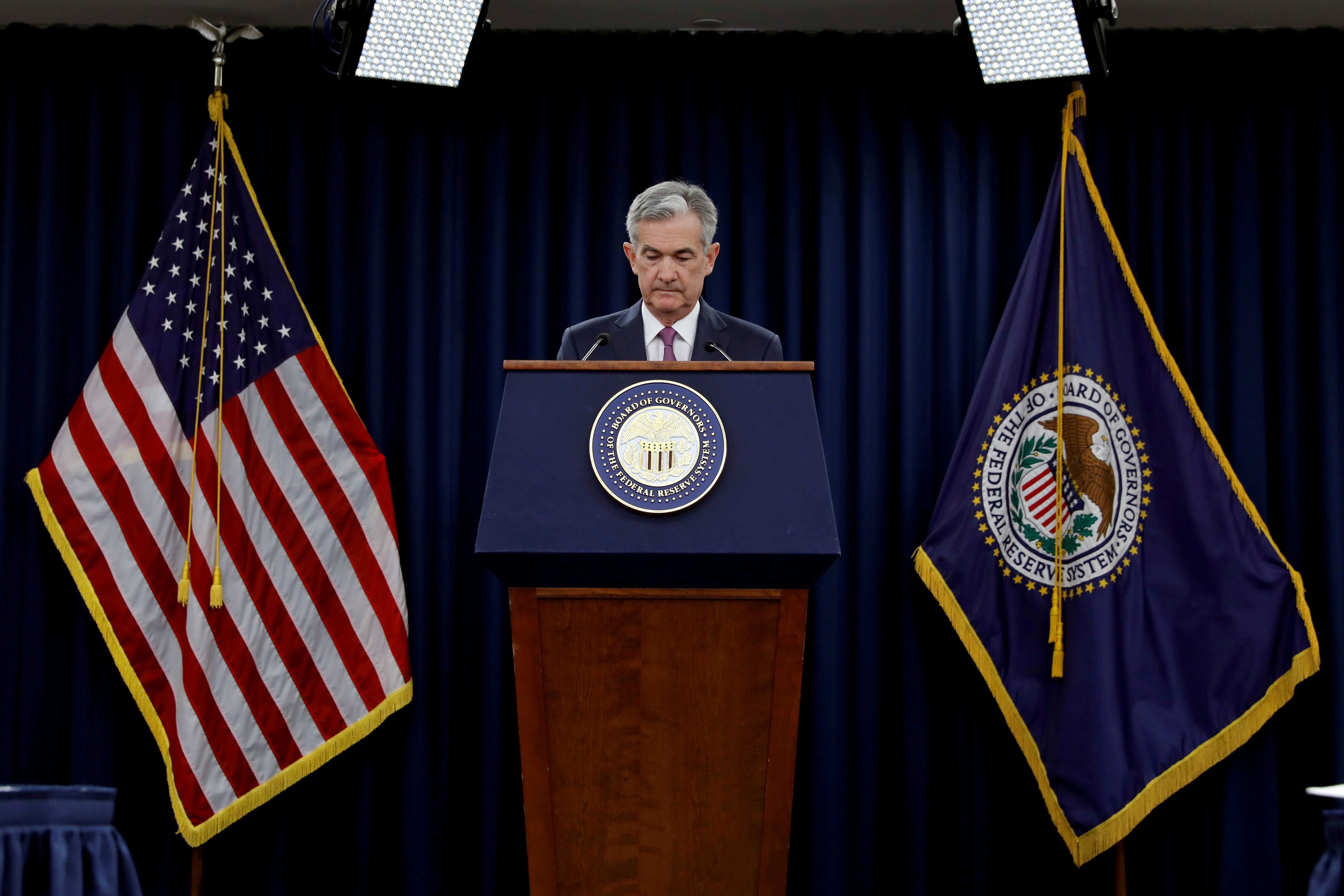FILE PHOTO: Federal Reserve Board Chairman Jerome Powell speaks at his news conference after the two-day meeting of the Federal Open Market Committee (FOMC) on interest rate policy in Washington, U.S., June 13, 2018. REUTERS/Yuri Gripas/File Photo/File Photo/File Photo