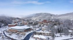 An aerial view shows snow over the Appalachian State University in Boone, North Carolina, U.S. in this still image taken from a social media video. Nelson Aerial Productions/via REUTERS