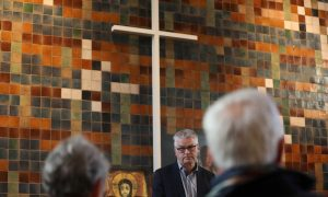 A protestant church holds round-the-clock sermons in an attempt to prevent the extradition of an Armenian family of political refugees, in The Hague, the Netherlands December 13, 2018. REUTERS/Eva Plevier