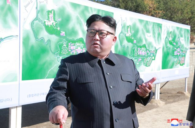 North Korean leader Kim Jong Un inspects a constructions site of Yangdeok, in this undated photo released on October 31, 2018 by North Korea's Korean Central News Agency (KCNA). KCNA/via REUTERS.