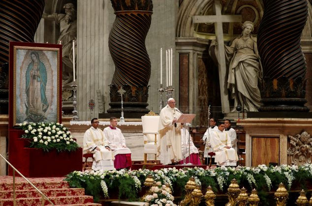 FILE PHOTO: Pope Francis celebrates a special mass for the Feast of Our Lady of Guadalupe in Saint Peter's Basilica at the Vatican, December 12, 2018. REUTERS/Max Rossi - RC11EC66C6A0/File Photo