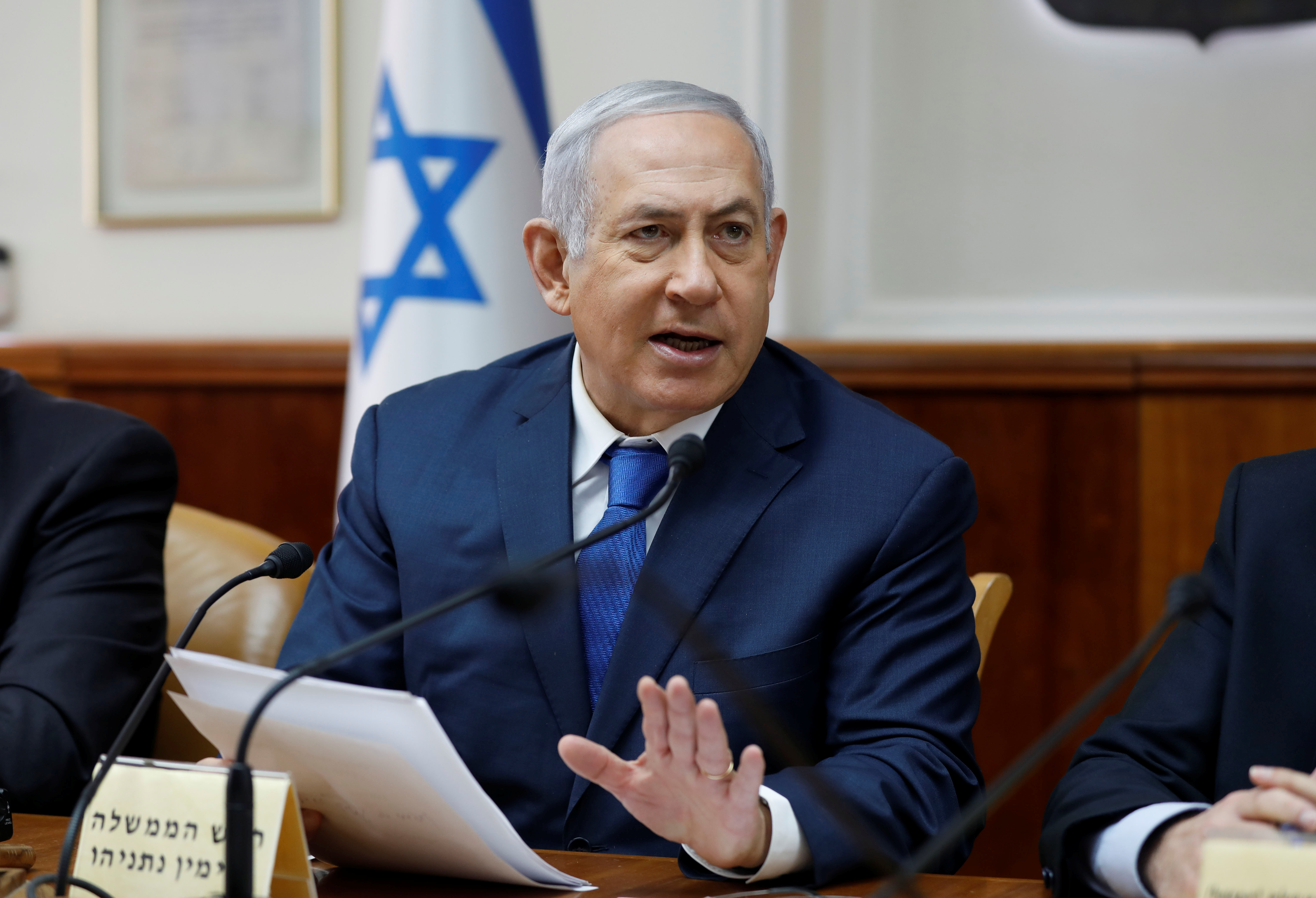 Israeli Prime Minister Benjamin Netanyahu attends the weekly cabinet meeting at his office in Jerusalem December 16, 2018. Abir Sultan/Pool via REUTERS/File Photo