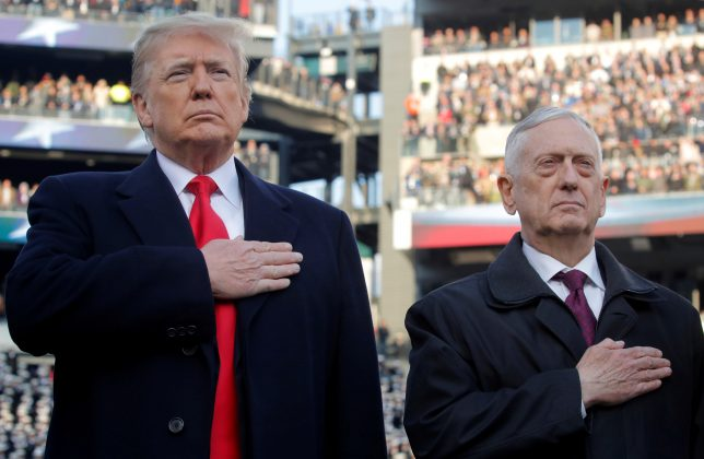 FILE PHOTO: U.S. President Donald Trump and U.S. Defense Secretary Jim Mattis attend the 119th Army-Navy football game at Lincoln Financial Field in Philadelphia, Pennsylvania, U.S. December 8, 2018. REUTERS/Jim Young/File Photo