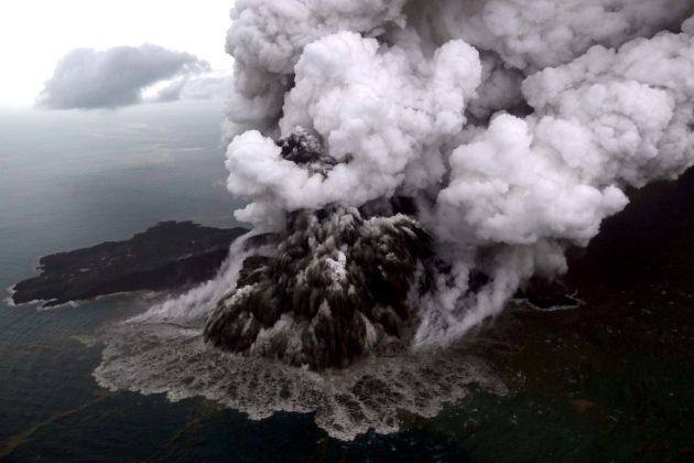 An aerial view of Anak Krakatau volcano during an eruption at Sunda strait in South Lampung, Indonesia, December 23, 2018 in this photo taken by Antara Foto. Antara Foto/Bisnis Indonesia/Nurul Hidayat/ via REUTERS/File Photo