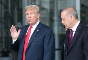 FILE PHOTO: U.S. President Donald Trump talks to Turkey's President Recep Tayyip Erdogan at NATO headquarters in Brussels, Belgium July 11, 2018.Tatyana Zenkovich/Pool via REUTERS