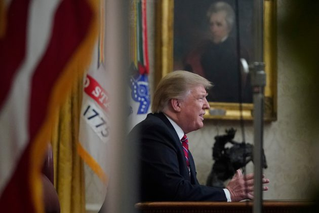 U.S. President Donald Trump delivers a televised address to the nation from his desk in the Oval Office, about immigration and the southern U.S. border on the 18th day of a partial government shutdown, at the White House in Washington, U.S., January 8, 2019. REUTERS/Joshua Roberts