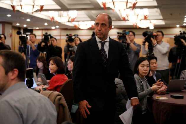 Special Rapporteur on the situation of human rights in North Korea Tomas Ojea Quintana arrives at a news conference in Seoul, South Korea, January 11, 2019. REUTERS/Kim Hong-Ji