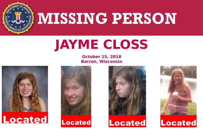 A U.S. Federal Bureau of Investigation (FBI) missing person poster shows Jayme Closs, a 13-year-old Wisconsin girl, missing since her parents were discovered fatally shot three months ago, has been located in Gordon, Wisconsin, U.S. as seen in this poster provided January 11, 2019. FBI/Handout via Reuters