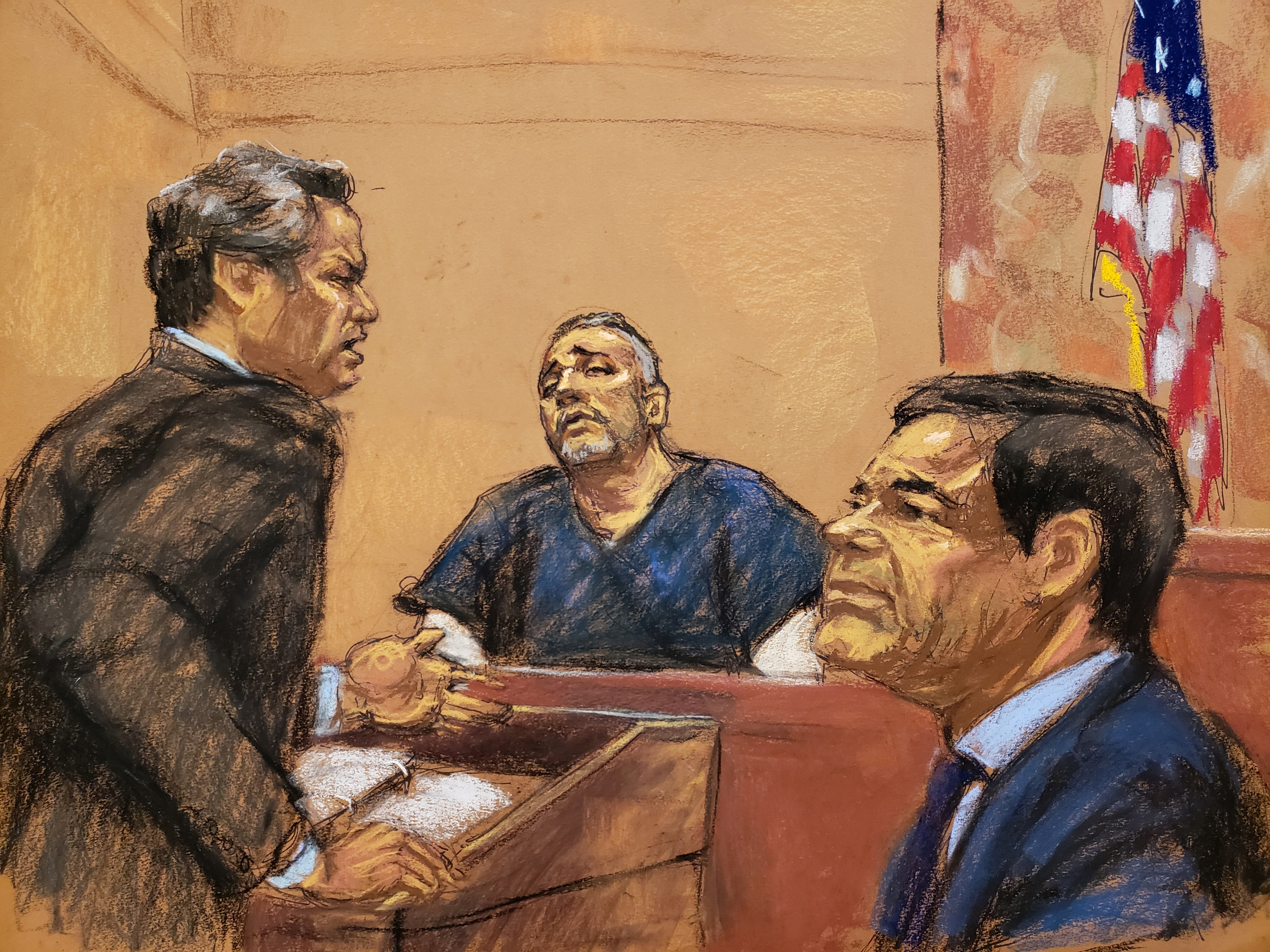 "Defense attorney Jeffrey Lichtman (L) cross examines Alex Cifuentes (C), a close associate of the accused Mexican drug lord Joaquin ""El Chapo"" Guzman (R) in this courtroom sketch in Brooklyn federal court in New York, U.S., January 15, 2019. REUTERS/Jane Rosenberg"