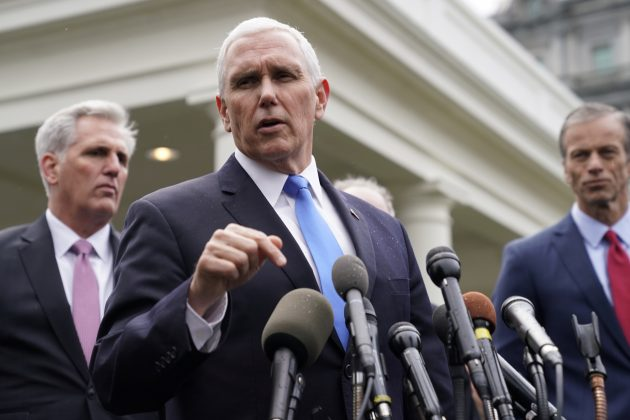 FILE PHOTO: U.S. Vice President Mike Pence speaks to the news media outside the West Wing with House Minority Leader Kevin McCarthy (R-CA) and Sen. John Thune (R-SD) after a meeting with President Donald Trump and congressional leadership about the partial government shutdown at the White House in Washington, U.S., January 9, 2019. REUTERS/Joshua Roberts/File Photo