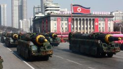 FILE PHOTO: Intercontinental ballistic missiles are seen at a grand military parade celebrating the 70th founding anniversary of the Korean People's Army at the Kim Il Sung Square in Pyongyang, in this photo released by North Korea's Korean Central News Agency (KCNA) February 9, 2018. KCNA/via REUTERS