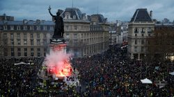 "FILE PHOTO: A view of the Place de la Republique as protesters wearing yellow vests gather during a national day of protest by the ""yellow vests"" movement in Paris, France, December 8, 2018. REUTERS/Stephane Mahe/File Photo"