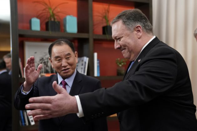 U.S. Secretary of State Mike Pompeo escorts Vice Chairman of the North Korean Workers' Party Committee Kim Yong Chol, North Korea's lead negotiator in nuclear diplomacy with the United States, into talks aimed at clearing the way for a second U.S.-North Korea summit as they meet at a hotel in Washington, U.S., January 18, 2019. REUTERS/Joshua Roberts