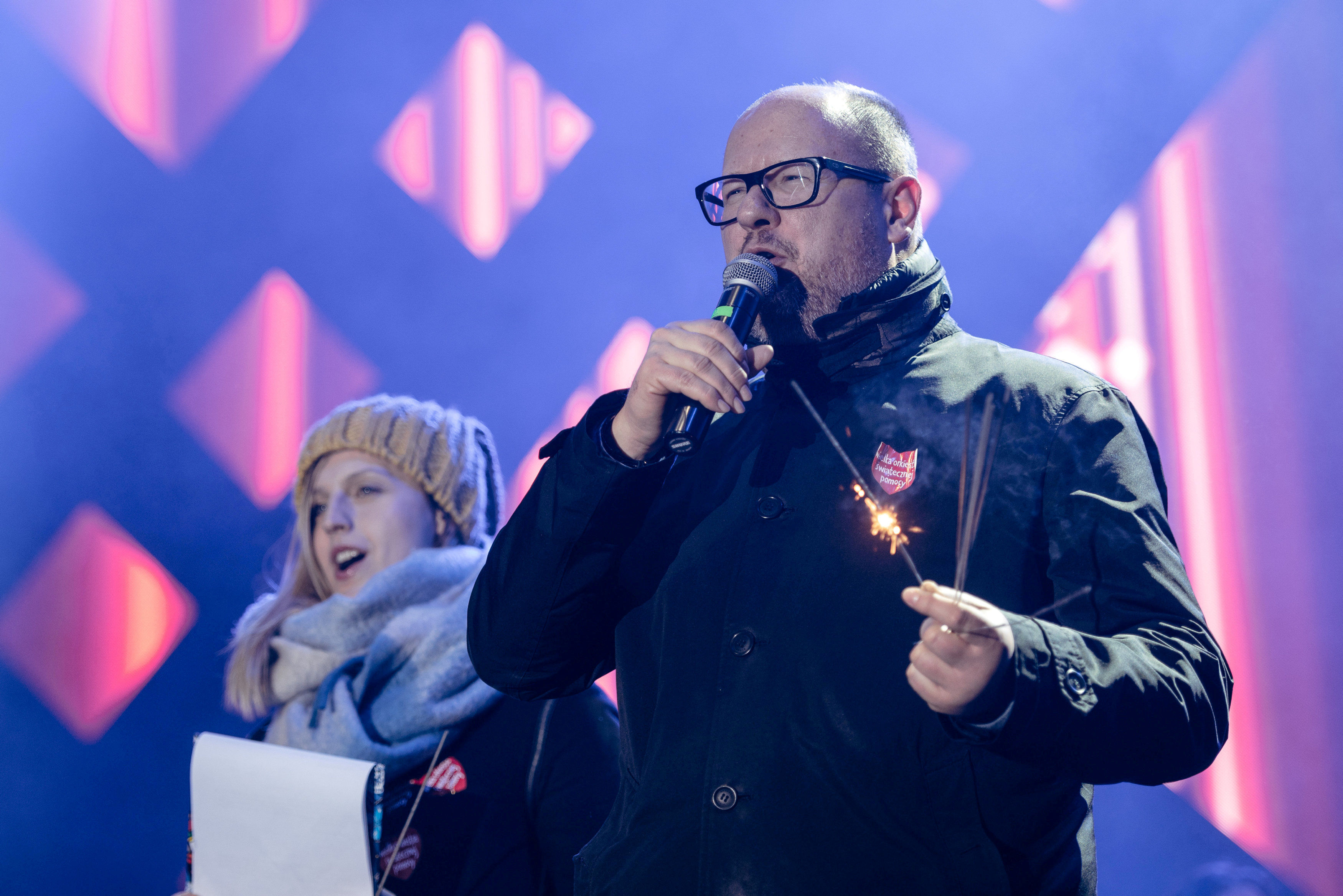 FILE PHOTO: Gdansk's Mayor Pawel Adamowicz speaks during the 27th Grand Finale of the Great Orchestra of Christmas Charity in Gdansk, Poland January 13, 2019. Agencja Gazeta/Bartosz Banka/File Photo via REUTERS