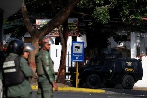 An armored vehicle is seen outside an outpost of the Venezuelan National Guards during a protest in Caracas, Venezuela January 21, 2019. REUTERS/Carlos Garcia Rawlins