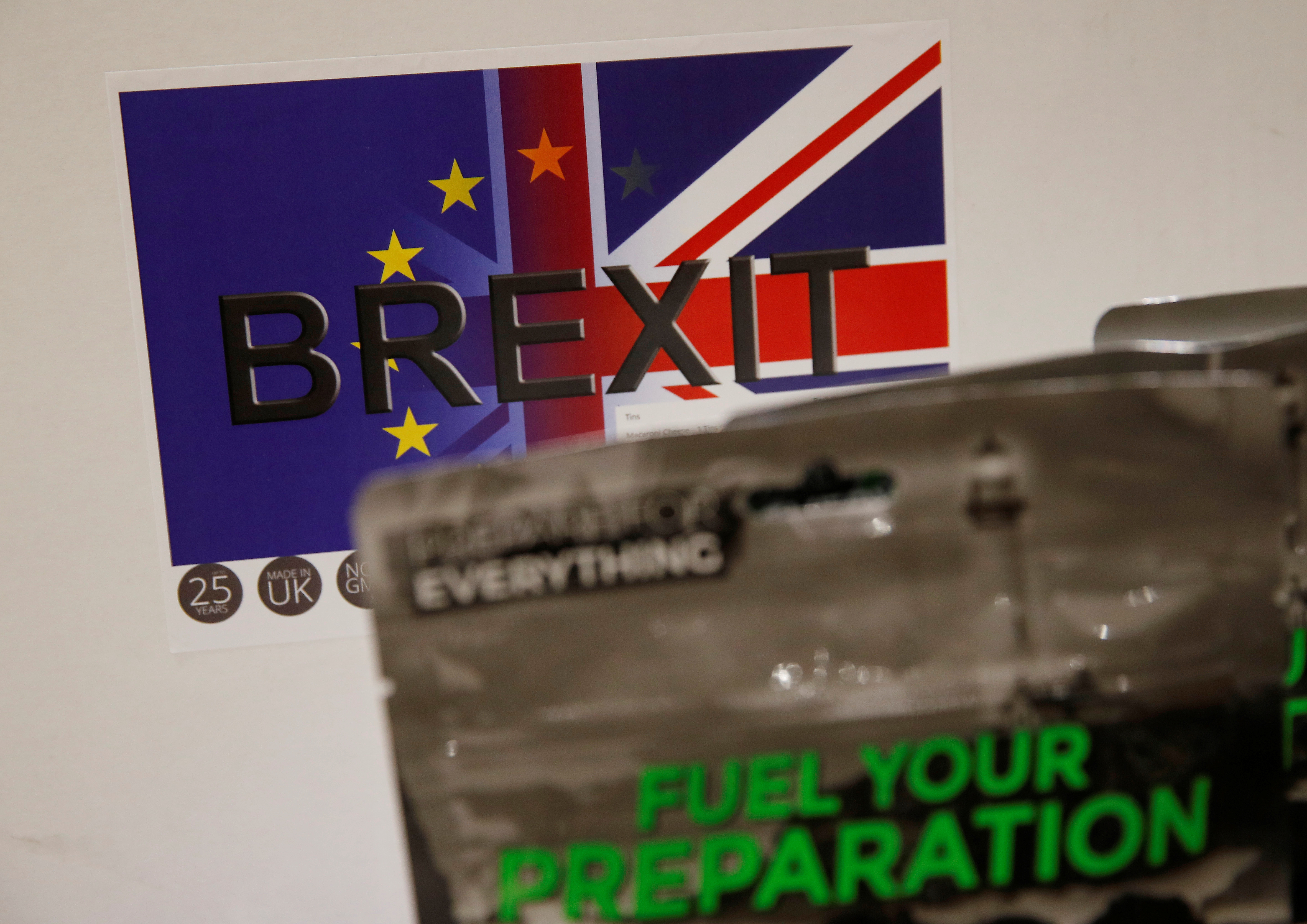 'Brexit Box' ration kits which contain dehydrated food, water purifying kit and fire starting gel are pictured at the warehouse of emergency food storage.co.uk in Leeds, Britain January 21, 2019. REUTERS/Phil Noble