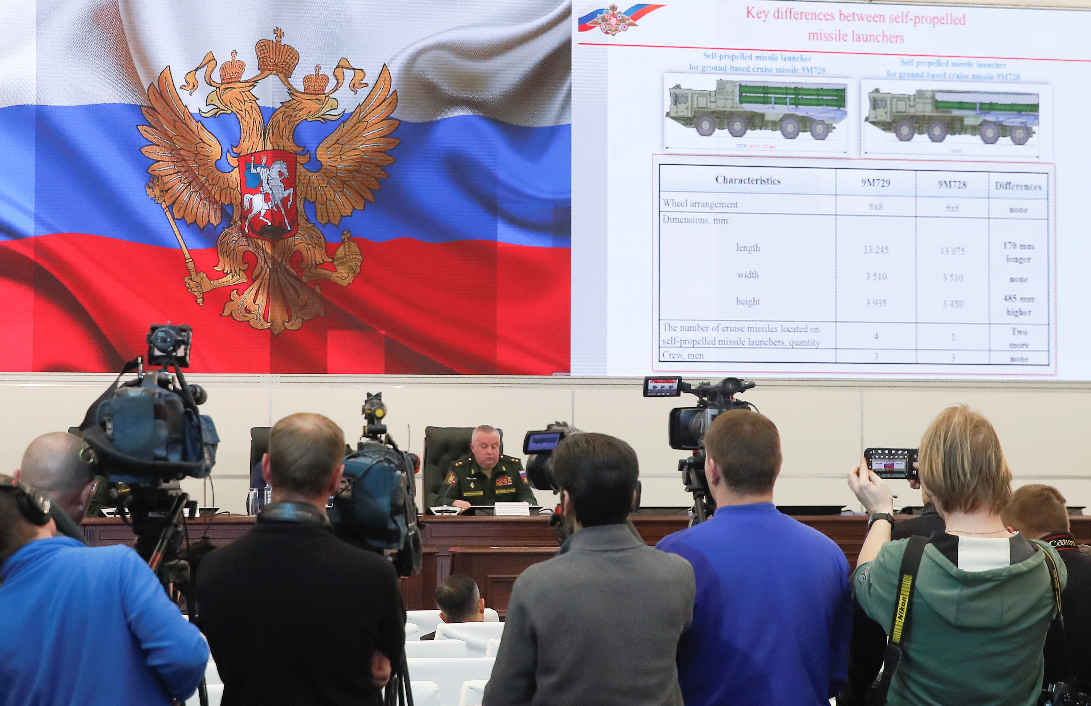Participants attend a news briefing, organized by Russian defence and foreign ministries' officials and dedicated to SSC-8/9M729 cruise missile system, at Patriot Expocentre near Moscow, Russia January 23, 2019. REUTERS/Maxim Shemetov