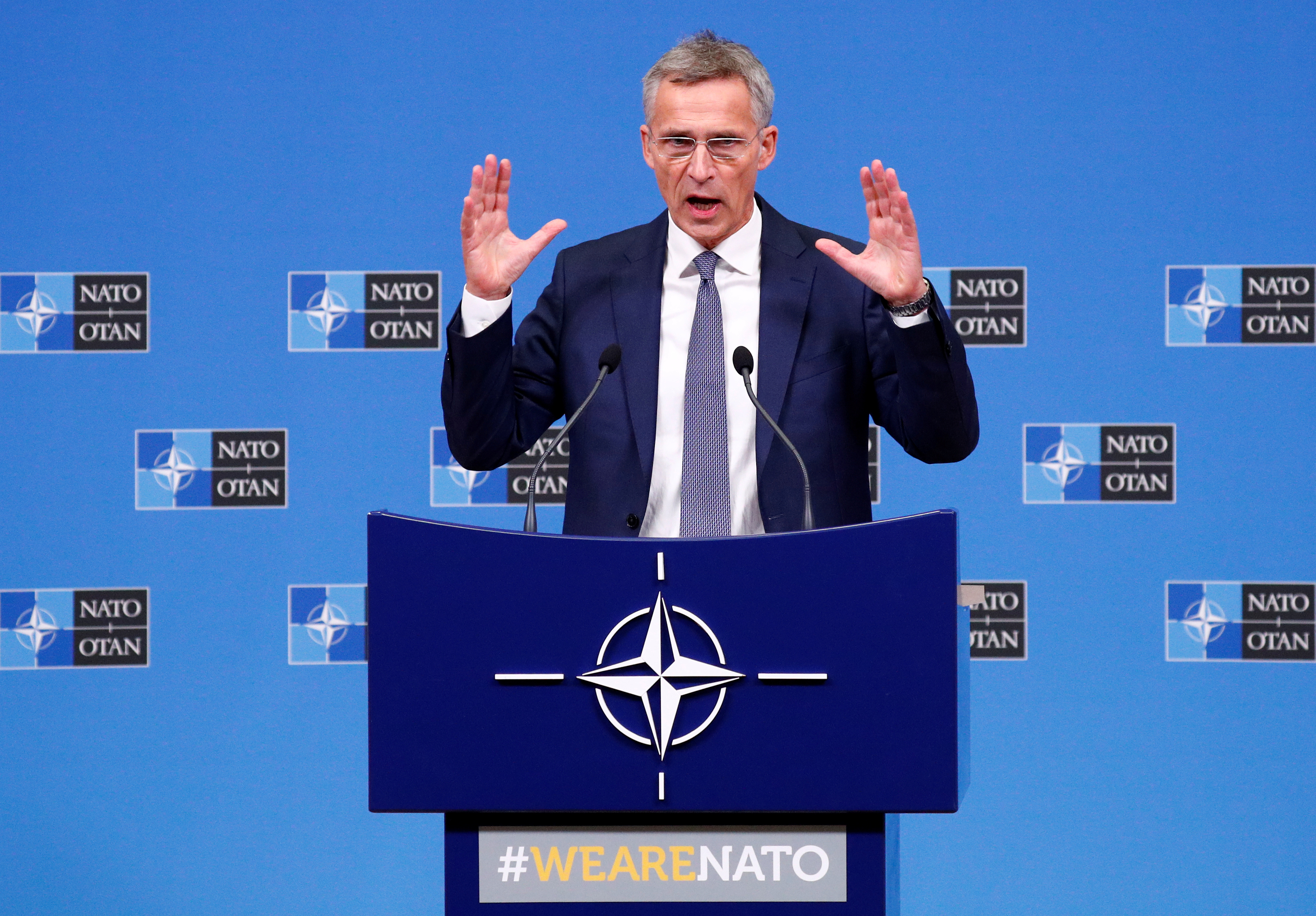 FILE PHOTO: NATO Secretary-General Jens Stoltenberg speaks at a news conference after a NATO defence ministers meeting at the Alliance headquarters in Brussels, Belgium, October 4, 2018. REUTERS/Francois Lenoir/File photo