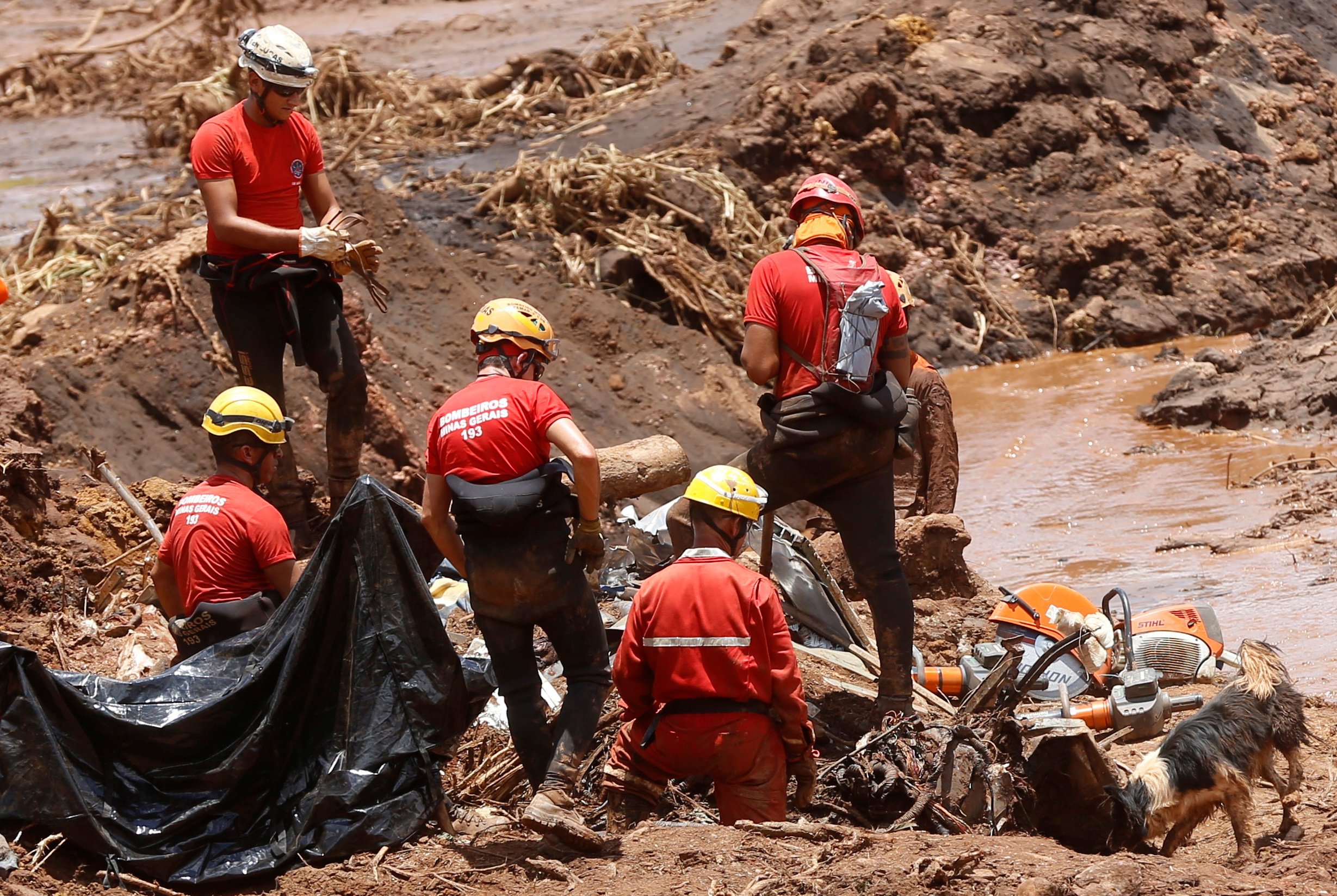 Members of a rescue team search for victims after a tailings dam owned by Brazilian mining company Vale SA collapsed, in Brumadinho, Brazil January 28, 2019. REUTERS/Adriano Machado