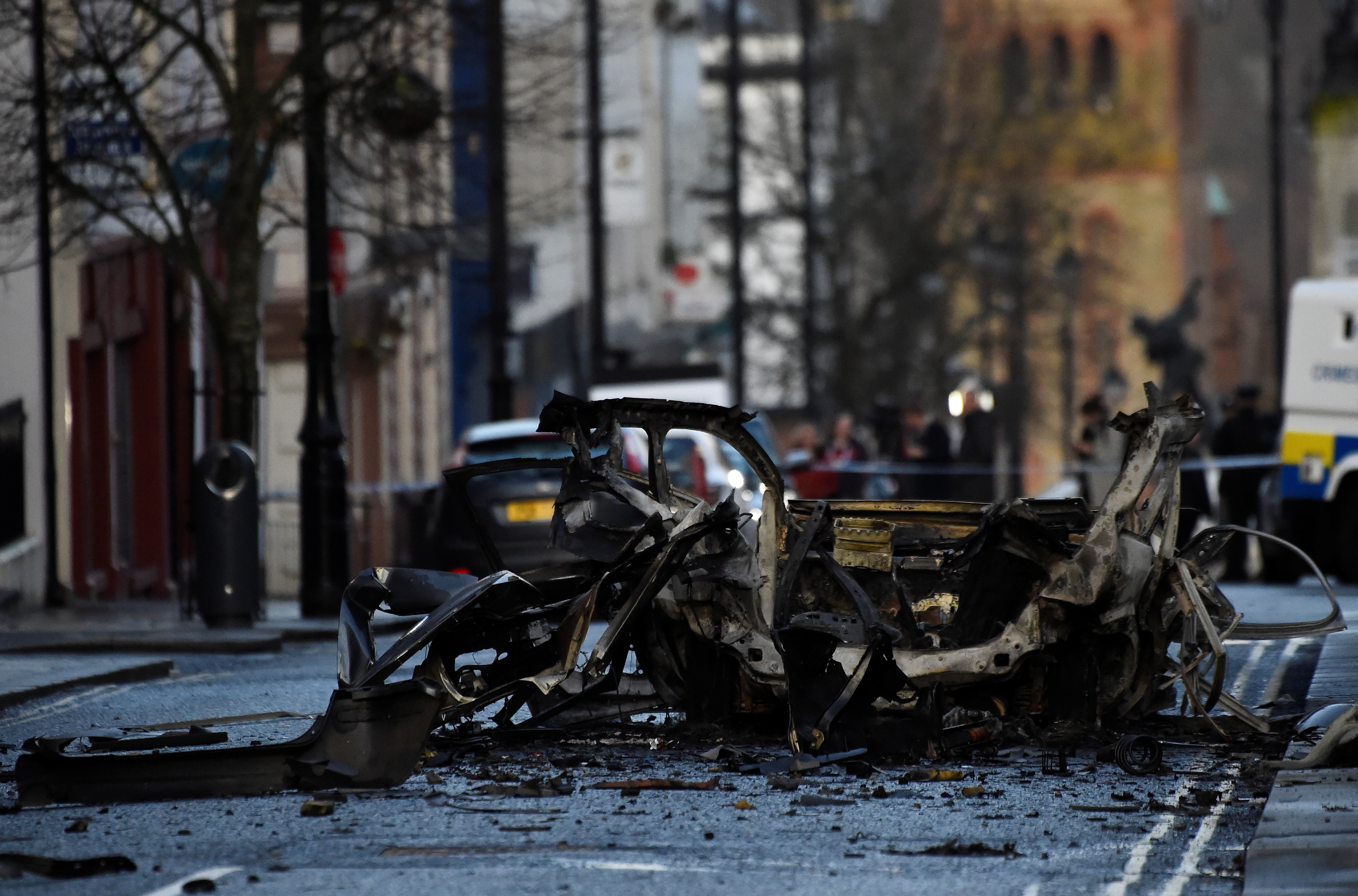 The scene of a suspected car bomb is seen in Londonderry, Northern Ireland January 20, 2019. REUTERS/Clodagh Kilcoyne