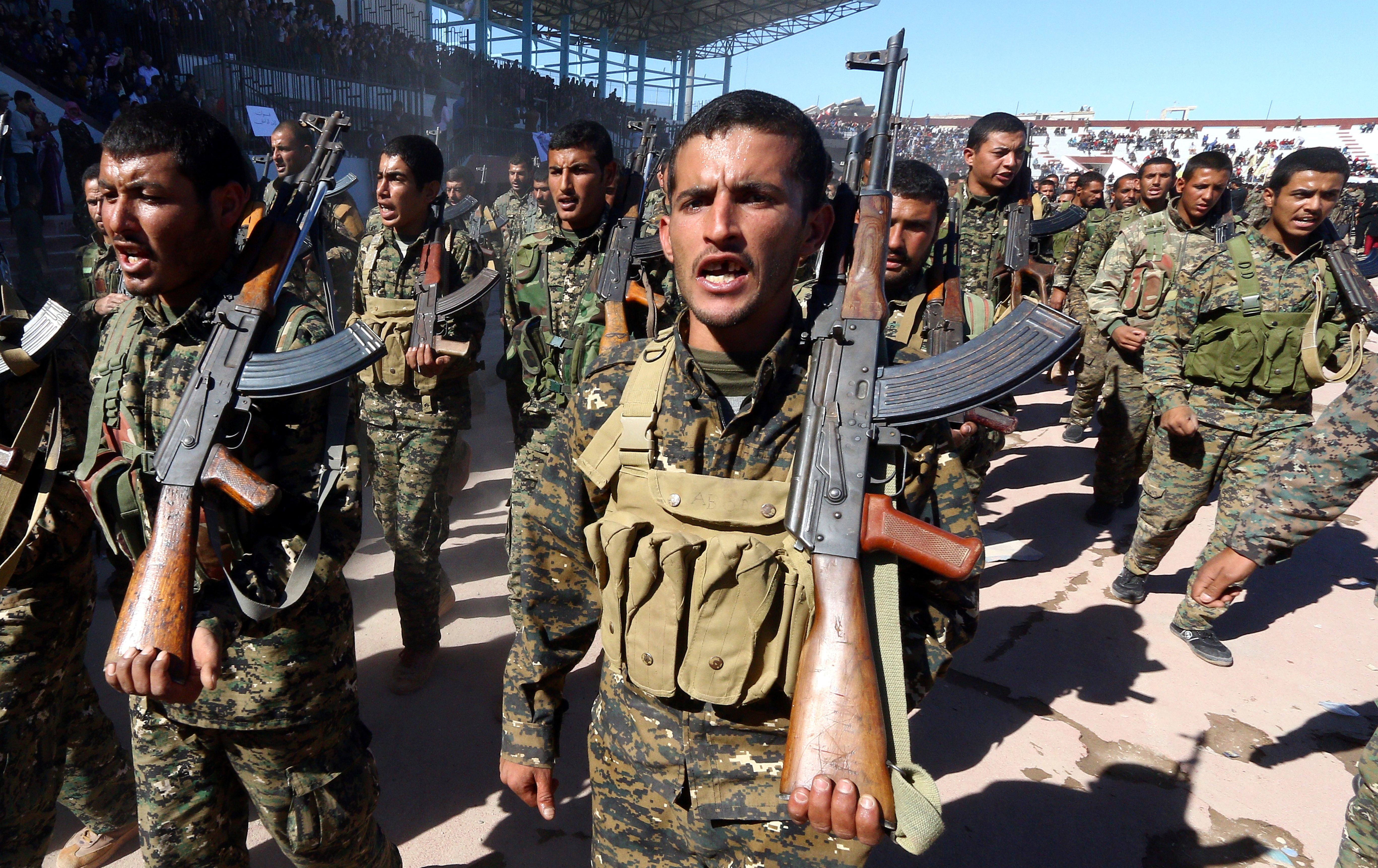 FILE PHOTO: Syrian Democratic Forces (SDF) celebrate the first anniversary of Raqqa province liberation from ISIS, in Raqqa, Syria Ocotber 27, 2018. REUTERS/Aboud Hamam/File Photo